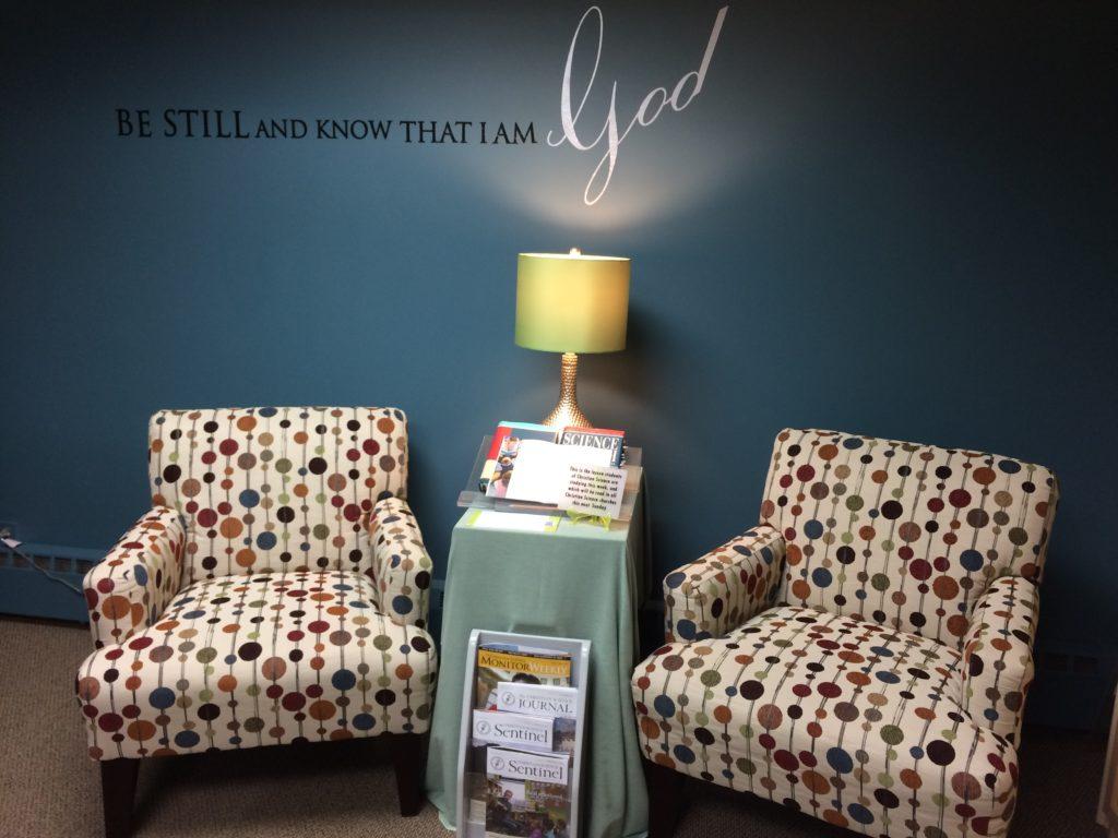 Inside the Christian Science Reading Room in Geneva, Illinois