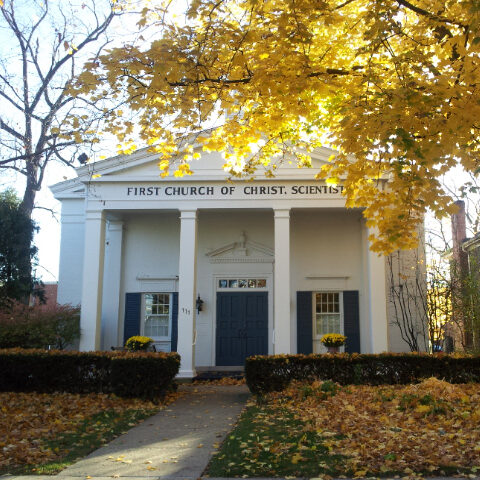 Front of the First Church of Christ, Scientist, Geneva, Illinois